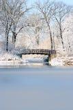 Christmas bridge. Frozen bridge in chirstmas time Stock Photo