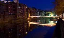 Christmas bridge in Girona Royalty Free Stock Photo