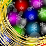 Christmas bright background with gold rings and snowflakes Stock Images