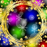 Christmas bright background with gold spangles and snowflakes Royalty Free Stock Image