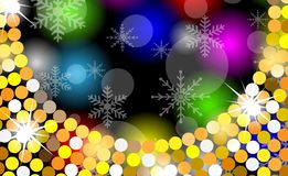 Christmas bright background with gold spangles and snowflakes Royalty Free Stock Images