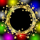 Christmas bright background with gold spangles Stock Photos