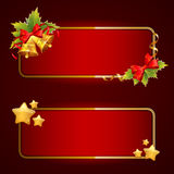 Christmas bright blank festive banners set. With bells and stars Stock Images