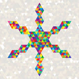 Christmas Bright Celebration Snowflake of Colorful Triangles. Geometric Festive Design Element Royalty Free Stock Photo