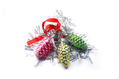 Christmas bright colorful decorations. Christmas bright colorful decoration fir-cone on white background stock illustration
