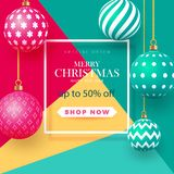 Christmas bright multi-colored baubles with geometric patterns. Abstract christmas background in bright colors. Place. For your text. Vector illustration royalty free illustration