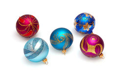 Christmas brilliant spheres on a white. Background royalty free stock image