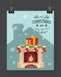 Christmas brochure template. Flat flyer design Xmas fireplace,presents, Christmas logo. Vector illustration Royalty Free Stock Images
