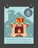 Christmas brochure template. Flat flyer design Xmas fireplace,presents, Christmas logo. Vector illustration Stock Images