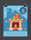 Christmas brochure template. Flat flyer design Xmas fireplace,presents, Christmas logo. Vector illustration Stock Photography