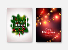Christmas brochures templates, decorative cards. New year pine t Stock Photography