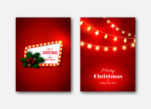 Christmas brochures templates, decorative cards. Retro frame wit. H glowing lights, new year pine tree decoration, red ball, glowing lights garland, fir cones Stock Photography