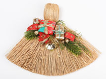 Christmas broom decorations isolated on white. Christmas broom with decorations isolated on white stock image