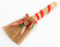 Christmas broom decorations isolated on white. Christmas broom with decorations isolated on white stock photos