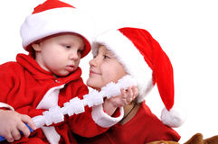 Christmas brothers Stock Images
