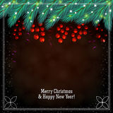 Christmas brown background with berries Royalty Free Stock Image