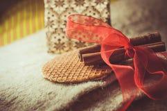 Christmas. Brown spices, cinnamon sticks, food Royalty Free Stock Photos