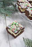 Christmas brownies with chocolate and cream cheese Stock Photography