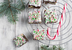 Christmas brownies with chocolate and cream cheese Stock Images