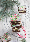 Christmas brownies with chocolate and cream cheese Royalty Free Stock Images