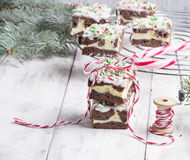 Christmas brownies with chocolate and cream cheese Stock Image