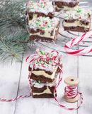 Christmas brownies with chocolate and cream cheese Royalty Free Stock Image