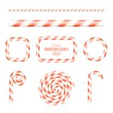 Christmas brush of red and white lollipop. Sugar Christmas lollipop. Frames of candy. Candy for the holiday. New Year. Vector Royalty Free Stock Photo