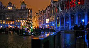 Christmas in Brussels. Christmas evening on Grand Place in Brussels Stock Images
