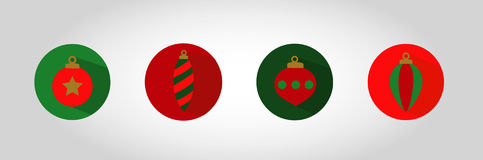 Christmas Bubble Icon Set. Swatches come with vector. Red and Green flat colour xmas ornaments enclosed in circular holding  with a shadow. Christmas ball icons Royalty Free Stock Photography