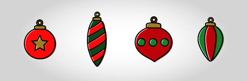 Christmas Bubble Icon Set. Swatches come with vector. Red and Green flat colour xmas ornaments with a thick outline and displaced solid fill. Christmas ball Stock Image