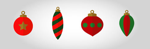Christmas Bubble Icon Set. Swatches come with vector. Red and Green flat  solid colour xmas ornaments with no outlines and  with a shadow over half of them to Royalty Free Stock Photo