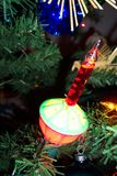Christmas Bubble Light. Photo of a Christmas bubble light ornament-a favorite of many people Stock Photo