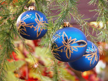 Christmas bubbles. On the branches larch tree Royalty Free Stock Photos