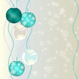 Christmas bubbles on abstract background. With snowflakes Stock Photography