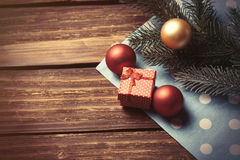 Christmas bubbles and branch Stock Images