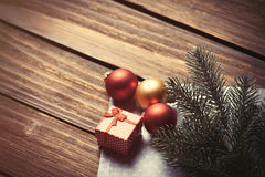 Christmas bubbles and branch Royalty Free Stock Image
