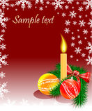Christmas bubbles candle and tree Royalty Free Stock Image