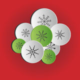 Christmas bubbles with snowflakes. Vector background Stock Image