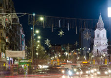 Christmas in Bucharest. Center of Bucharest(Unirii Square) in December 2013 Stock Photography
