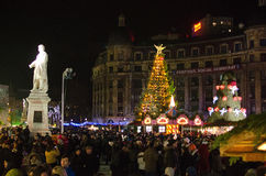 Christmas in Bucharest(I). The Christmas Market placed in center of Bucharest at University Square, December 2013 Stock Photos