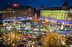 Christmas in Bucharest(III). The Christmas Market placed in center of Bucharest at University Square, December 2013 Stock Images