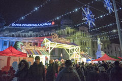 Christmas in Bucharest(7). The Christmas Market placed in center of Bucharest at University Square, December 2014 Stock Image