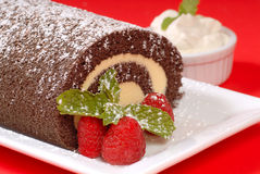 Christmas Buche de Noel cake. Delicious Christmas Buche de Noel cake with raspberries, whipped cream and powdered sugar Royalty Free Stock Photo