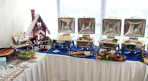 Christmas Buffet Setting. Line up of a chaffing dish on a buffet Royalty Free Stock Photos