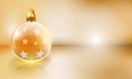 Christmas bulb banner. Vector golden christmas background with copy space Stock Photos