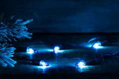 Christmas bulb lights in night abstract background Royalty Free Stock Photos