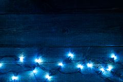 Christmas bulb lights in night abstract background Stock Images