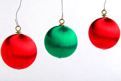 Christmas Bulb Ornaments. Red and green bulb christmas tree ornaments royalty free stock images