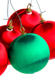 Christmas Bulb Ornaments. Red and green bulb christmas tree ornaments royalty free stock image