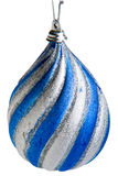 Christmas Bulb Ornaments. Blue and Silver bulb christmas tree ornaments stock image